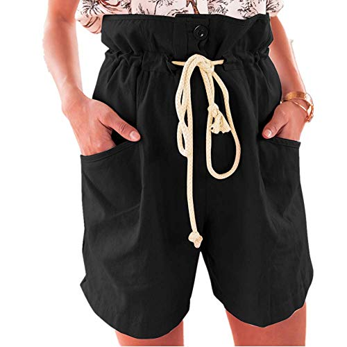 WOZOW Cargo Shorts Kurze Hose Damen Bettwäsche Baumwolle Solid Einfarbig Rüschen Casual Lose Mini Freizeithose Stoffhose Tie Riemchen High Waist A Line Slim Chino Trousers (L,Schwarz) - Womens Cuffed Denim Bermuda Shorts