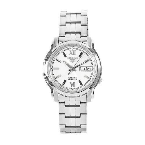 Seiko Herren-Armbanduhr XL Analog Automatik Edelstahl SNKK77