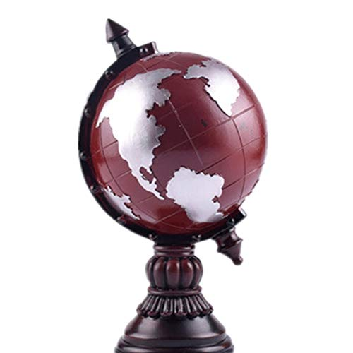 LiangDa Globus Weinlese-Harz Verziert Globales Sparschwein-Inneneinrichtungs-Erde-Retro Altes Handwerk Rotierender Globus mit Monitorständer (Farbe : Rot, Größe : Free Size)