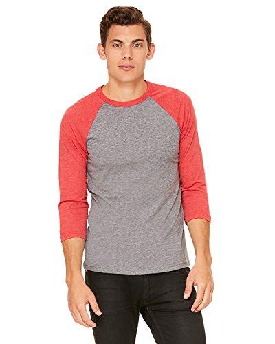 Baseball-Shirt aus Canvas-C3200-Material, Unisex, 3/4-Arm, meliert Gr. S (US Größe), Grey / Red Triblend (Baseball Armee Jersey)