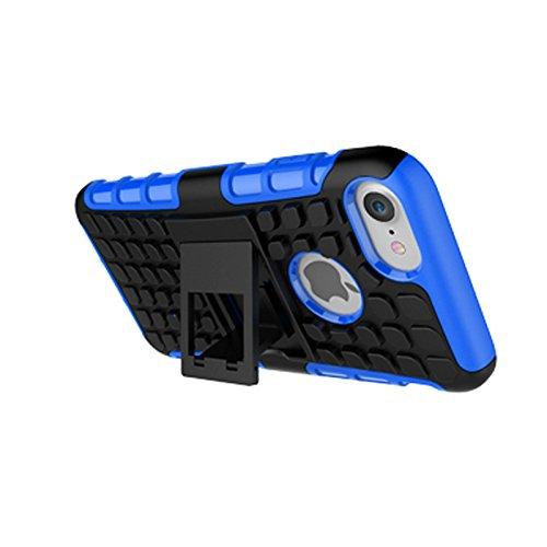 iPhone 7 Coque,COOLKE Haute qualité Etui Housse Robuste Protection de Double Couche d'Armure Lourde avec Béquille Cover Case pour Apple iPhone 7 (4.7 inches) - Rote Blau