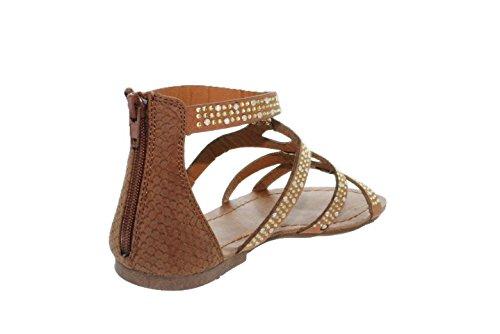 Sinly - Sandale Plate,Spartiate Décorée De Strass - Femme Camel