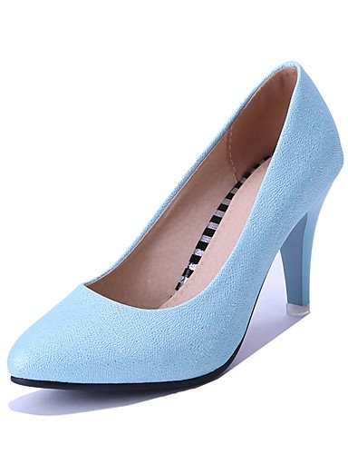 WSS 2016 Chaussures Femme-Mariage / Habillé / Soirée & Evénement-Bleu / Rose / Argent-Talon Cône-Bout Pointu-Talons-Similicuir pink-us5.5 / eu36 / uk3.5 / cn35