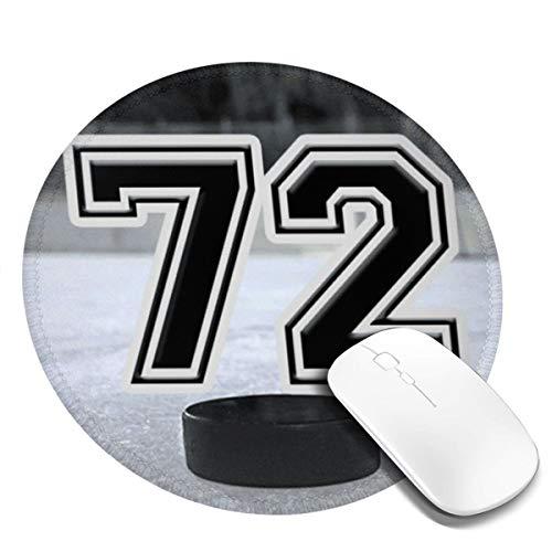 Runde Gaming Mauspad Eishockey Nummer 72 Zweiundsiebzig, Rutschfest Gummi Mauspad Rund Mauspad für Computer Laptop Mousepad