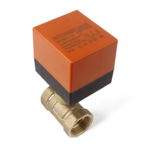 ugelventil Absperrhahn DN25 G1 Zoll AC 230V Zweiwegeventil Umschaltventil Absperr-Umschalt-Kugelventil Elektro Ventil 0~6bar ()