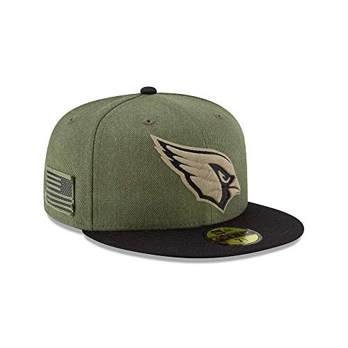 New Era Arizona Cardinals On Field 18 Salute to Service Cap 59fifty 5950 Fitted Limited Edition, Green, 7 1/8 - 57cm (M) -