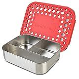LunchBots Trio Edelstahl Nahrungsmittelbehälter – Drei Abschnitt Design perfekt für gesunde Snacks, Beilagen oder Finger Foods unterwegs – Umweltfreundlich, Spülmaschinenfest und BPA frei – Rot Gepunktet