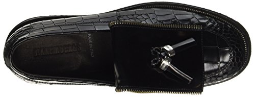 BIKKEMBERGS Damen Loaf-Er 812 Mocassin W Patent Mokassin Nero (Black (Croco Print))