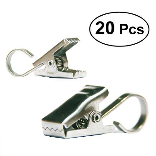 WINOMO 20 Stück Gardinen Vorhang Clips Klammern mit Haken (Handtuch Haken Für Gardinenstange)