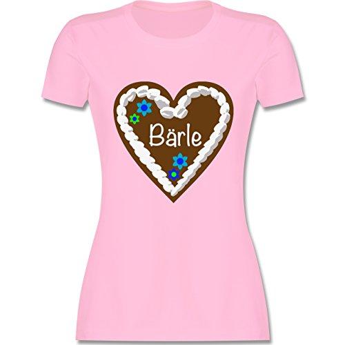 Oktoberfest Damen - Lebkuchenherz Bärle - tailliertes Premium T-Shirt mit Rundhalsausschnitt für Damen Rosa