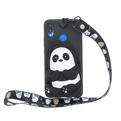 Miagon Silikon Hülle für Huawei Honor 8X,3D Süß Brieftasche Lager Tasche Design mit Halskette Kordel Schnur Handykette Necklace Band,Schwarz Bär