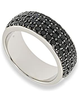 Damen-Band-Ring Sterling-Silber 925 rhodiniert Zirkonia schwarz C063