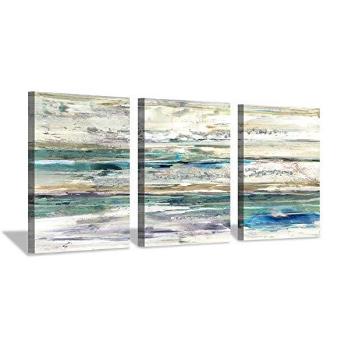 Hardy Gallery Leinwandbild, abstraktes Meereslandschaft, Kunstdruck auf Leinwand, für Büro, 40,6 x 30,5 cm, 3 Teile - Grau-wand-kunst Teal