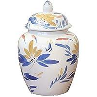 Tao-Miy Gran féretro de cerámica Pintado a Mano con diseño de urnas Ataúd Azul y Blanco - Sellado a Prueba de Humedad, Utilizado para el Almacenamiento de ...
