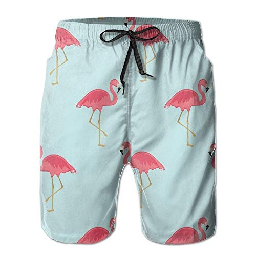 BetterShopDay Flamingo Floral Men's/Boys Casual Quick-Drying Bath Suits Elastic Waist Beach Pants with ()