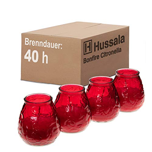 Hussala Bonfire Citronella Duft Kerzen mit Windlicht-Glas (Outdoor & Indoor-Kerze) Brennzeit 40 h - rot [16 Stück]
