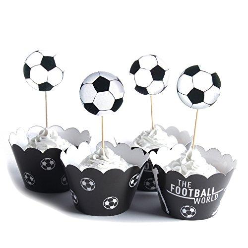 TOOGOO 24 Stueck / lot Die Fussball Welt Papier Cupcake Wrapper Toppers fuer Kinder Party Geburtstag Dekoration Kuchen Tassen (12 Wraps + 12 Topper)