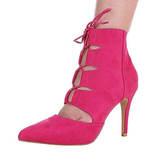 Damen Schuhe, 1432-GA, PUMPS HIGH HEELS SANDALETTEN Pink