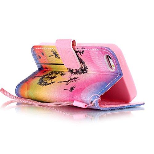 Funyye Custodia Per iphone 5 / iphone 5s / iphone SE Cover in Pelle Portafoglio [Con Gratis Pellicola Protettiva] Fiori Rosa Disegno Elegante Libro Cordino Stile Copertura Supporto Stand + Porta Carte Color-17