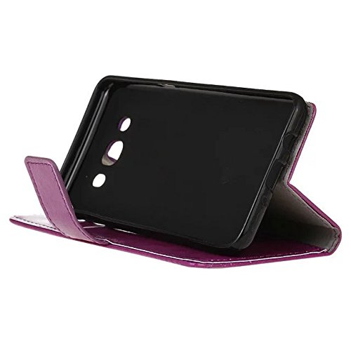 Samsung Galaxy J7 Case, Solid Color verrückte Pferd Textur Retro Leder Schutzhülle horizontale Flip-Standplatz Fall Deckung mit Halter Wallet Card Slots für Samsung Galaxy J7 (2016) ( Color : Red , Si Purple