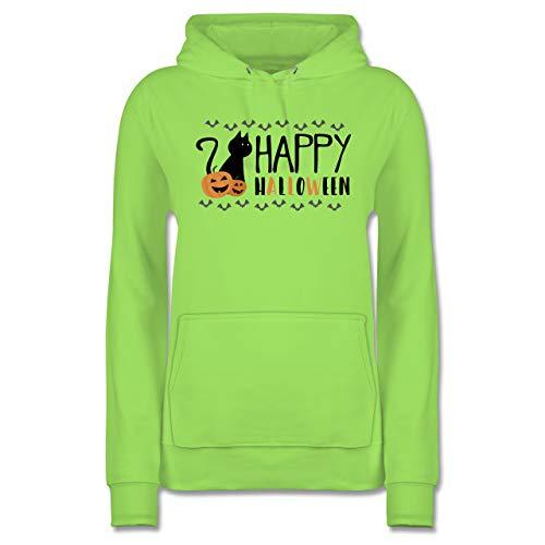Shirtracer Halloween - Happy Halloween - XS - Limonengrün - JH001F - Damen Hoodie (Halloween Witze Happy)