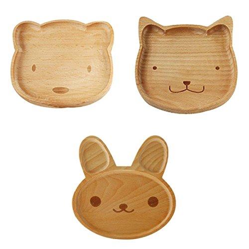 A Da.Wa 1 St/ück Buche Hase Teller Kinder Tier Holz Platte Kinder Besteck