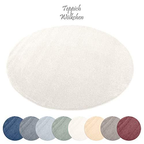 Designer-Teppich Pastell Kollektion   Flauschige Flachflor Teppiche fürs Wohnzimmer, Esszimmer, Schlafzimmer oder Kinderzimmer   Einfarbig, Schadstoffgeprüft (Natur Weiss, 150 cm rund) (Weiß Rund Teppich)
