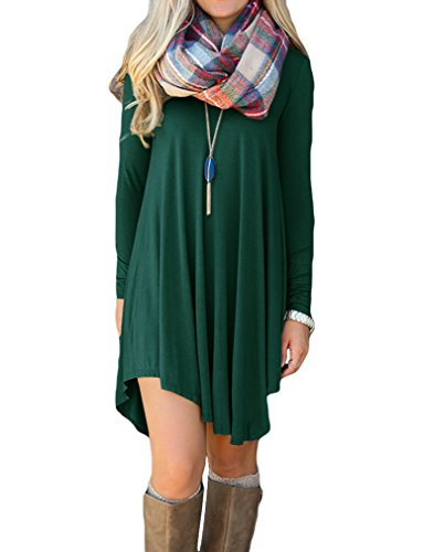 LILBETTER Damen Langarm-beiläufige lose T-Shirt-Kleid (Dunkelgrün L) (Grünes Shirt Kleid)