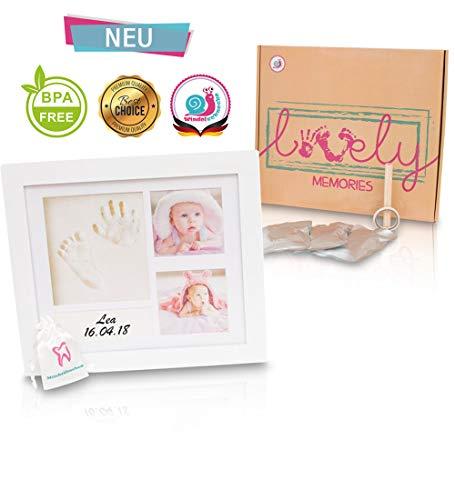Baby Bilderrahmen Set für Handabdruck & Fußabdruck Geschenkbox, 2 Farben, Abdruckrahmen Taufgeschenk zur Geburt, Babyparty. Fotoalbum Fotocollage für Babys und Neugeborenen zur Erinnerung