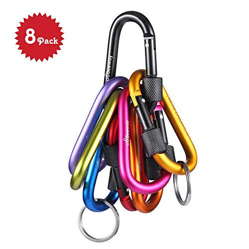 Locking Carabiner - Beeway® Pack 8 Premium Aluminum Alloy D-ring Carabiners Clip Hook with 2pcs Keychain O Ring for Outdoor, Camping, Hiking, Traveling, Fishing, Backpack