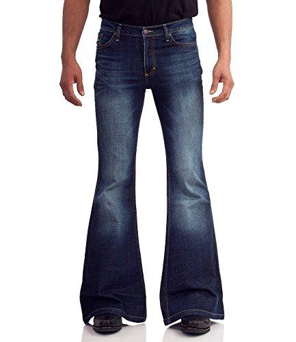 Comycom 70er Blue Jeans mit Schlag dunkelblau Used 34/34