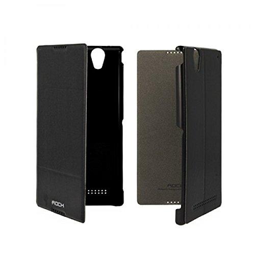 ROCK Excel Serie für Sony Xperia T2 Ultra D5303 / D5306 Ultra Slim Flip Schutzhülle Flipcase im Premium Bookstyle Book Case Handytasche in Farbe Schwarz Color Black