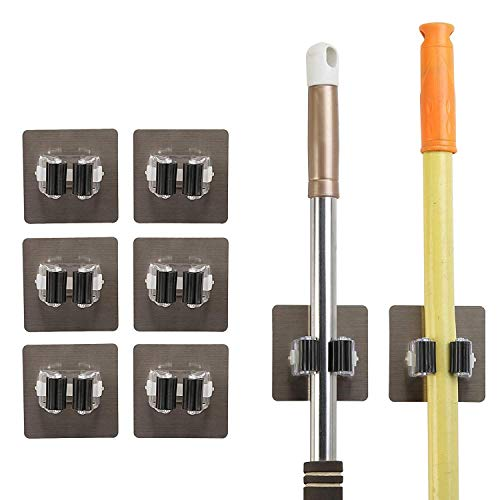 8 Mop Besen Halter,MEZOOM Universal Sebstklebend Werkzeughalter Besenhalter Gerätehalter Wandhalter für Küche Badezimmer Garage