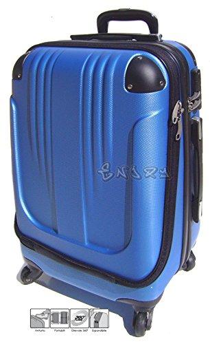 Bagaglio a mano trolley voli low cost in abs rigido 4 ruote + asta estensibile -loco by crazy shoes (Azzurro)