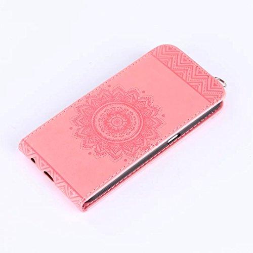Samsung Galaxy S6 Case, Vertical Flip-Standplatz Fall Geprägte Blumen Muster Leder Fall Deckung mit Wallet-Card Slots für Samsung Galaxy S6 ( Color : Red , Size : Samsung Galaxy S6 ) Rose