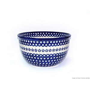 Boleslawiec Pottery Big Salad Bowl, Ø26.3cm, Original Bunzlauer Keramik, Decor 166a