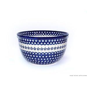 Boleslawiec Pottery Big Salad Bowl, Ø26.3cm, Original Bunzlauer Keramik, Decor 166a
