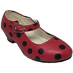 Zapato Flamenco Baile Sevillanas niña o niño mujer Rojo Rosa Lunares Negros (37, Rojo)