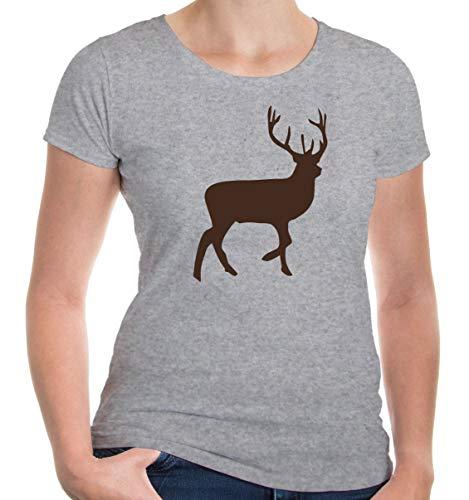buXsbaum® Damen Kurzarm Girlie T-Shirt bedruckt Rothirsch | Edelhirsch Jagd Wildtier | M heathergrey-brown Grau (Deer Hunter Kostüm Frauen)