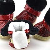 LIPETLI Patrón de Piedra PU Antideslizante Zapatos para Mascotas Las Botas para la Nieve Son Suaves y Cálidas Botas Protectoras Adecuadas para Perros,Rojo,M