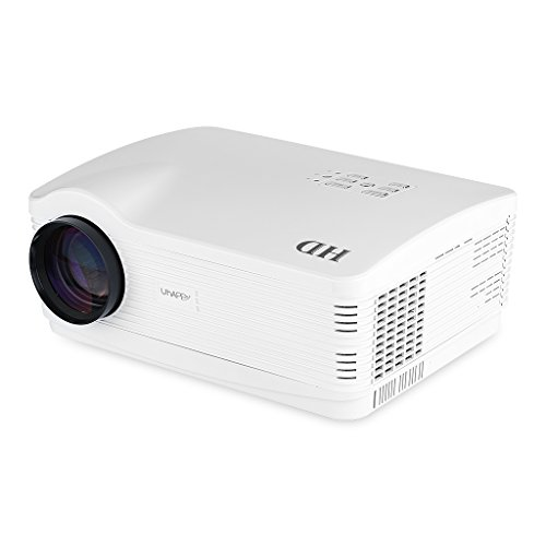 Uhappy H2 - HD Proyector Inalámbrico (Android, 720P, WIFI, HDMI/USB/SD/ATV/AV/VGA, 1280*768, Zoom) Cine Teatro - Blanco