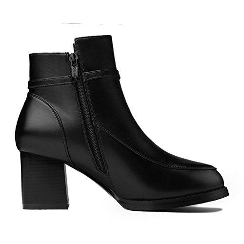 Damen Feine Schöne Klassische Britische Stil Runde Zehen Riemenband mit Metallanhänger Reißverschluss Kurzschaft Bequeme Stiefeletten Schwarz