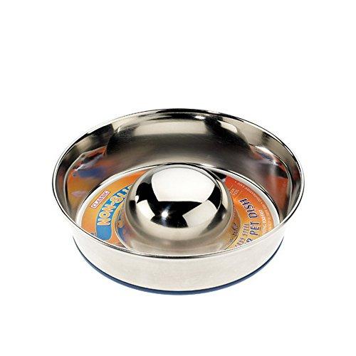 Caldex Classic Futternapf/Fressnapf, aus Edelstahl, mit rutschfester Unterseite, für langsameres Fressen, Größe S, 19 cm