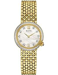 Bulova Ladies Women's Designer Diamond Watch Bracelet - Gold Wrist Watch 98W218
