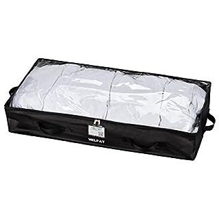 Premium Unterbettkommode mit Sichtfenster, Haltegriffen und Beschriftungsfenster - 100 x 48 x 18 cm - staubfreie Kleideraufbewahrung - atmungsaktive Aufbewahrungstasche für Decken, Kleidung und mehr