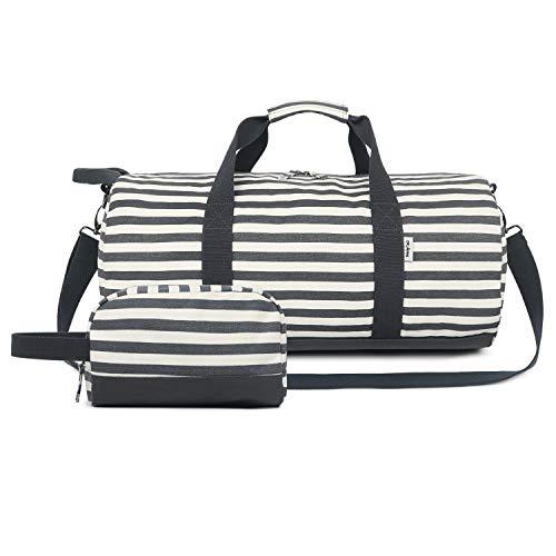 Oflamn Kleine Reisetasche für Männer und Damen - Sporttasche Segeltuch Trainingstasche - Travel Duffel Bag & Sports Gym Bag (1.0 Streifen schwarz gesetzt)