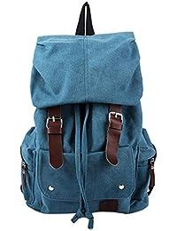 TOOGOO(R) Fashion Men's Backpack Vintage Canvas Shoulder Bag Backpack School Bag Travel Bag, Blue