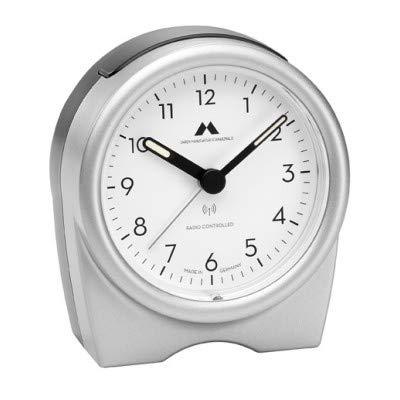 Uhren Manufaktur Schwarzwald Funk-Wecker rund - geräuschlos, kein nerviges Ticken - Made in Germany - Flüsterleises Uhrwerk, einfache Bedienung. (Silber)
