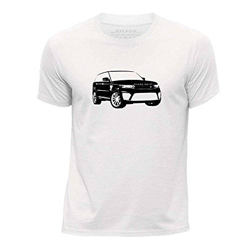 stuff4-chicos-edad-de-9-11-134-146cm-blanco-cuello-redondo-de-la-camiseta-plantilla-coche-arte-range