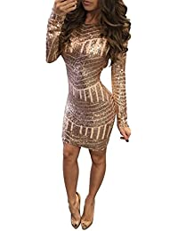 Hot!Hansee Women Sexy Long Sleeves Sheath Dress Sequin Backless Slim Party  Dress for Women b0a4f1756af6